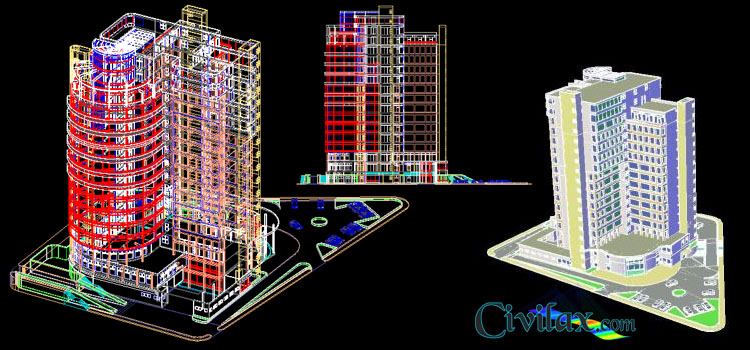 AutoCAD 3D Drawing of Hotel - Civil Engineering Downloads