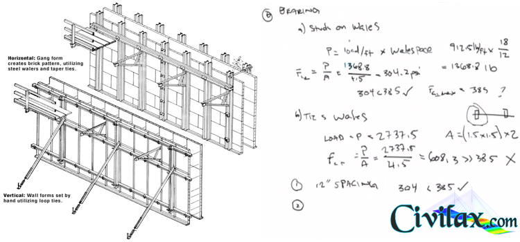 example concrete wall form design problem showing - Concrete Wall Design Example