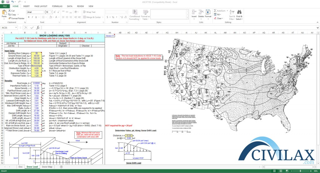 Asce 7 10 snow load analysis civil engineering downloads for Snow load roof pitch