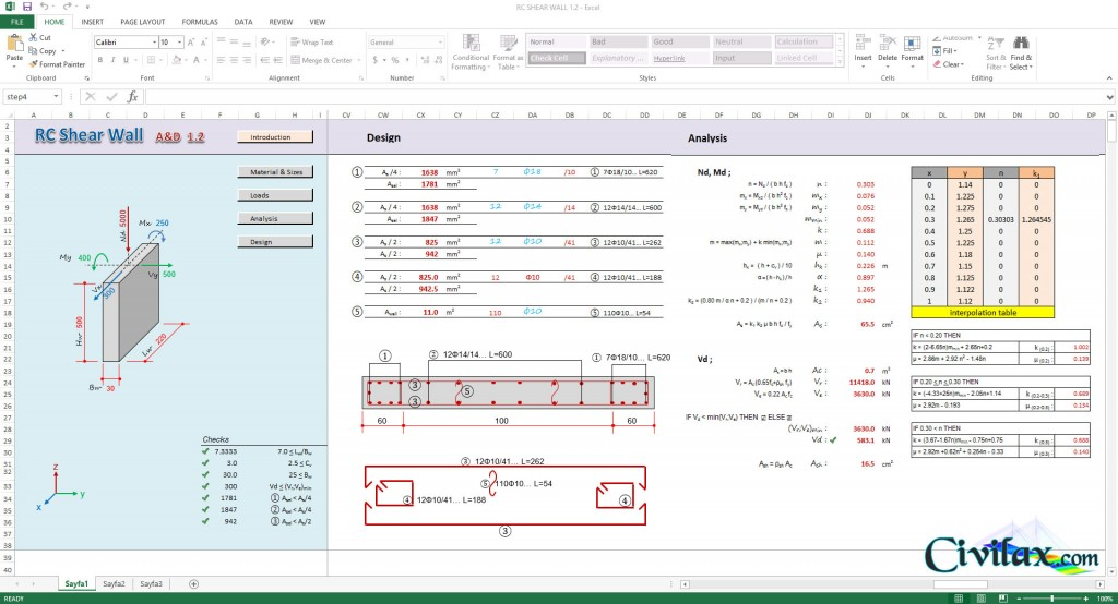 RC Shear Wall Analysis and Design Spreadsheet Civil Engineering
