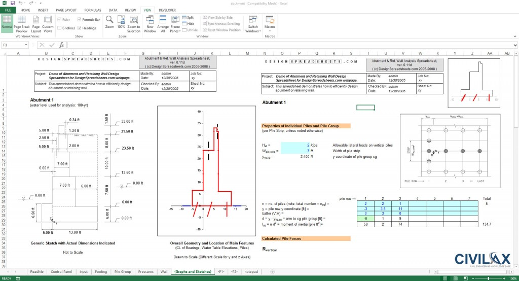 Concrete Retaining Wall Design Spreadsheet : Abutment and retaining wall design spreadsheet civil