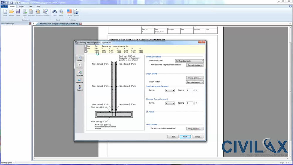 Retaining Wall Analysis and Design in Tekla Tedds Civil