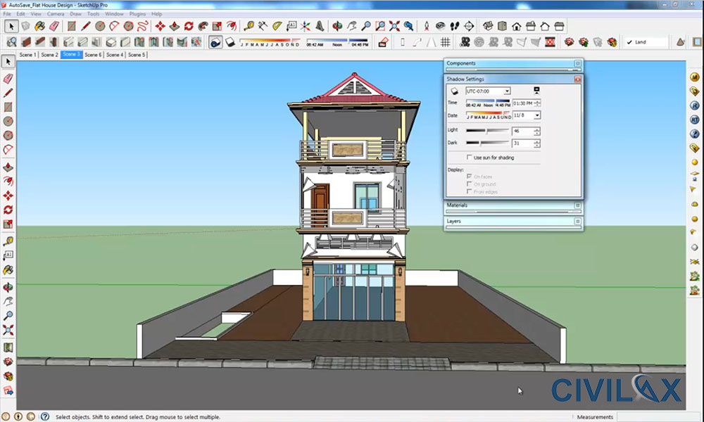 Flat house design and render using google sketchup civil for Civil engineering home design
