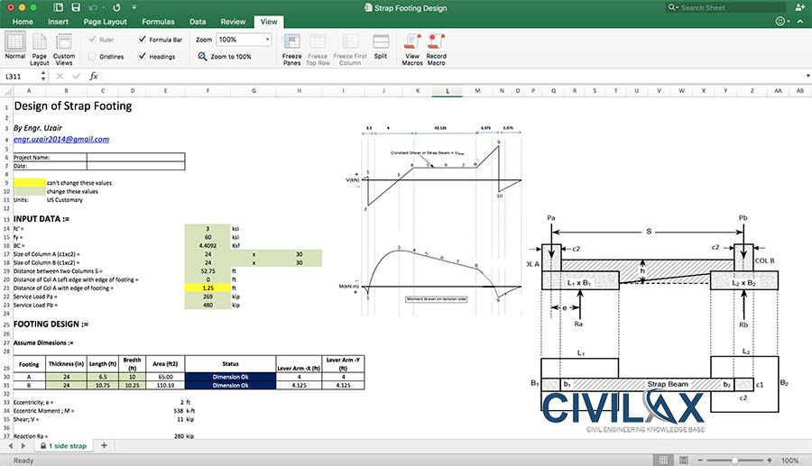 Strap Footing Design Spreadsheet - Civil Engineering Downloads